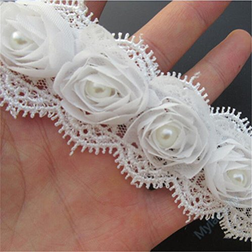 Eyelash Ribbon - 2 Meters 3D Chiffon Rose Flower Pearl Lace Edge Trim Ribbon 5 cm Width Vintage Style Ivory Cream Edging Trimmings Fabric Embroidered Applique Sewing Craft Wedding Bridal Dress DIY Clothes Decor