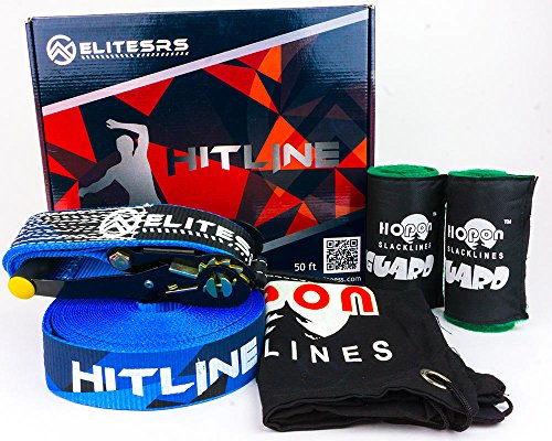 "Personal Fitness Slackline Kit Dynamic Balance & Core Workouts EliteSRS HITLINE 50ft Slackline (2"" wide), Safety Lock Ratchets, Tree Guards & Carry Bag Easy Indoor / Outdoor Setup"