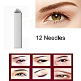 Disposable Microblading Needles - CINRA Microblading Curved Needles Permanent Makeup Manual Eyebrow Tattoo Needle Embroidery Arc Blade 100pcs (12 Curved Needles)