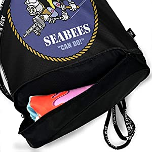 PLO American and Seabee Crossed Flag Drawstring Backpack Drawstring Bag Bundle Backpack Runner Bag from PLO