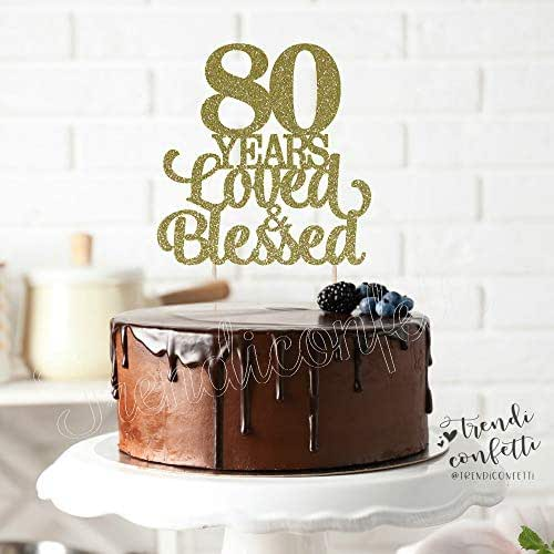 Amazon.com: TrendiConfetti 80 Years Loved and Blessed Cake ...