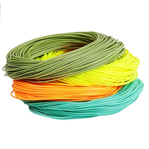 Maxcatch Weight Forward Floating Fly Line 100ft Yellow, Orange, Teal Blue, Moss Green (2F,3F,4F,5F,6F,7F,8F) (Yellow, WF4F) (100' Line)