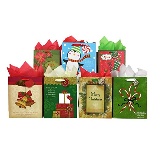 Set of Christian Religious Christmas Gift Bags and Tissue Paper (Bible Verse) (Christmas Bible Eve Verses)