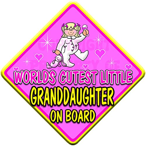 (ONESIE) WORLDS CUTEST LITTLE GRANDDAUGHTER ON BOARD (like baby on board sign) Non Personalised novelty baby on board car window sign. Just The Occasion