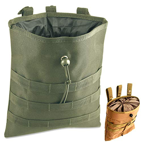 Tactical Molle Drawstring Magazine Folding Dump Pouch, (Army Green, 12
