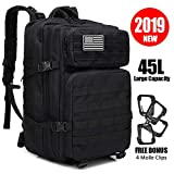 Large Military Tactical Backpack, 45L Army Assault Pack Molle Bug Out Bag Backpacks Rucksack Daypack...