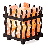 Crystal Allies Natural Himalayan Salt Wire Mesh Basket Lamp with Cord (Sunburst)