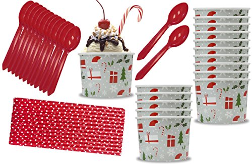 Outside the Box Papers Holiday Christmas Themed 12 Ounce Ice Cream Bowls, Plastic Spoons, Polka Dot Paper Straws 16 Each Red, Silver, White, Green -