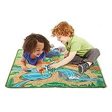 "Melissa & Doug Prehistoric Playground Dinosaur Activity Rug (39 X 36"") - 4 Toy Animals Toy"