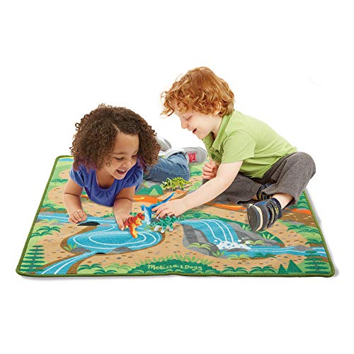 "Melissa & Doug Prehistoric Playground Dinosaur Activity Rug (39 X 36"") - 4 Toy Animals Toy from Melissa & Doug"
