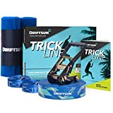 Driftsun Slackline Trick Line Complete Kit - 50FT Slacklining Trickline Back-Up Line Tree Guards