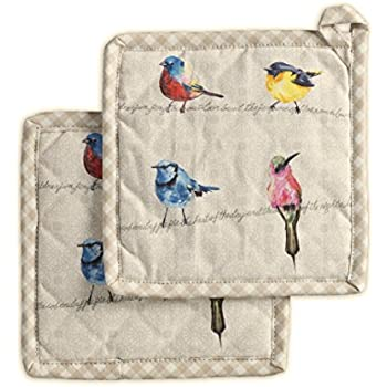 Maison d' Hermine Birdies on Wire 100% Cotton Set of 2 Pot Holders 8 Inch by 8 Inch