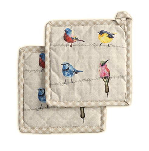 - Maison d' Hermine Birdies on Wire 100% Cotton Set of 2 Pot Holders 8 Inch by 8 Inch