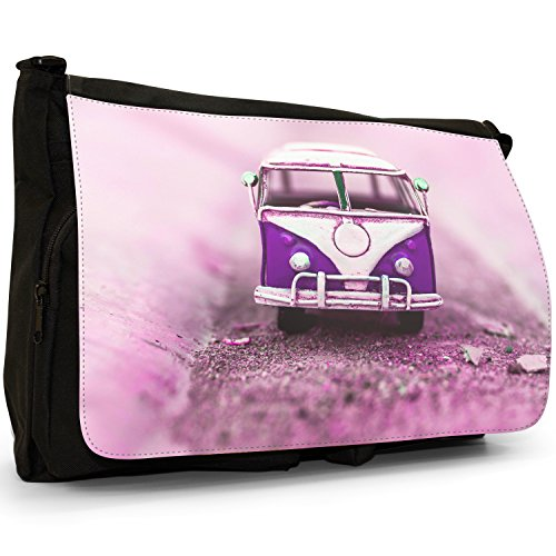 Black Camper Large Van Bag Old Laptop School Shoulder Canvas Purple Messenger xSqIwwHf7