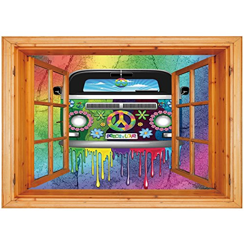 3D Depth Illusion Vinyl Wall Decal Sticker [ Groovy Decorations,Old Style Hippie Van with Dripping Rainbow Paint Mid 60s Youth Revolution Movement Theme,Multi ] Window Frame Style Home Decor Art Remov (Bohemian Revolution)