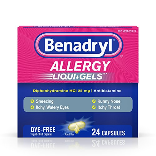 Benadryl Liqui-Gels Antihistamine Allergy Medicine & Cold Relief, Dye Free, 24 ct (Pack of 2) (Effective Medicine)
