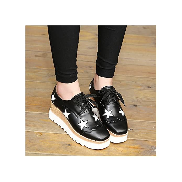 scarpe Brevettato Casual Oxford Flatform comfort Chunky cuoio tacco Da Quadrato Carriera Lvyuan Ginnastica merletto Donna amp; Cappello ufficio Scarpe outdoor