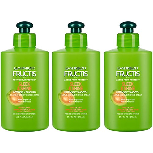 Garnier Fructis Sleek & Shine Intensely Smooth Leave-In Conditioning Cream, 10.2 Fl. Oz. (Packaging May Vary), 3 (Active Strengthening System)