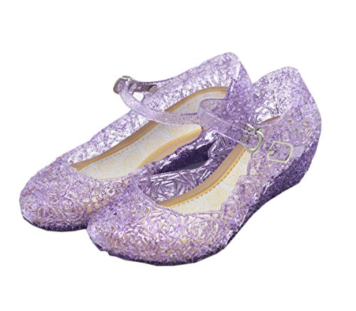 Cinderella Baby Girls Soft Crystal Plastic Shoes Children's Princess Shoes(Toddler/Little Kid) (12 M US Little Kid, - Little Dress Shoes Purple Girl