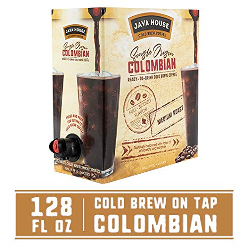 Java House Single Origin Cold Brew Coffee On Tap, Colombian Black, No Sugar, Always Fresh and Ready to Drink, Not a Concentrate, 128 fl oz by Java House