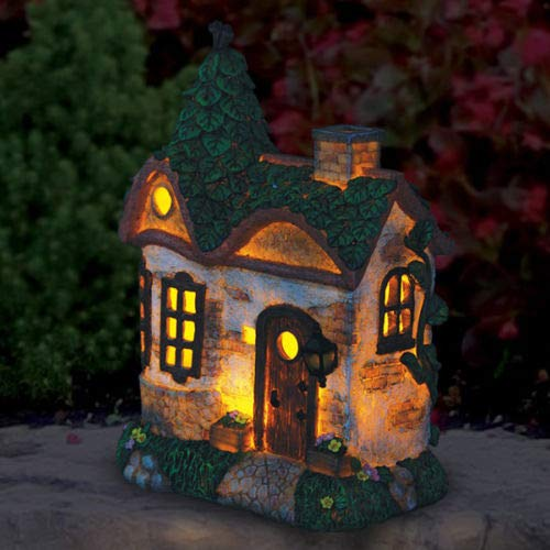 Fairy Garden Mini - Solar Leaf-Roof Cottage - Outdoor Garden Statue - Best Outdoor Accessory - 8.75'' Wide x 5.5'' Deep x 11'' High