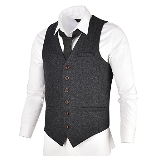 VOBOOM Men's Slim Fit Herringbone Tweed Suits Vest Premium Wool Blend Waistcoat (Dark Grey, L) by VOBOOM