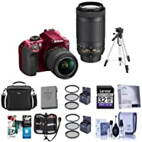Nikon D3400 DX-Format DSLR Camera, RED with AF-P DX NIKKOR 18-55mm F/3.5-5.6G VR and AF-P DX NIKKOR 70-300mm F/4.5-6.3G ED Lenses - Bundle with Camera Bag, Tripod, 32GB SDHC Card, Spare Battery, More
