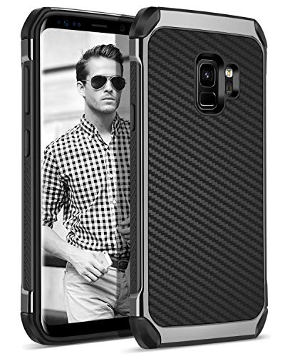 Galaxy S9 Case, BENTOBEN Protective Phone Cases for Samsung Galaxy S9 Slim 2 in 1 Dual Layer Hybrid Hard PC Cover Laminated with Carbon Fiber Faux Leather Soft TPU Bumper Shockproof for Men, Black
