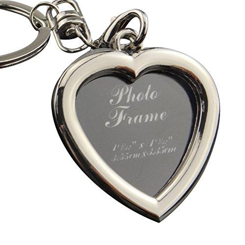 WINOMO Mini Photo Frame Metal Keychains Key Rings Keyfob Gift for Couple and Family X - 186 Heart-shape