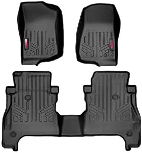 Rough Country Floor Liners (fits) 2020 Jeep Gladiator JT   Under Seat Storage   1st/2nd Row   Rubber Mats   M-61501, Front/Rear (JT)