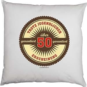 A pesar de jugent licher Apariencia divertido para 50cumpleaños en blanco FUN sofá cojín de decoración