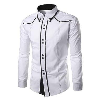 Yukong - Camisa para hombre de ajuste regular, cuello Kent, diseño ...