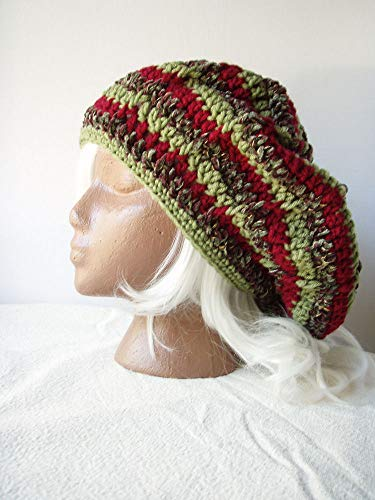 - Red Green Stripe Slouchy Beanie Oversize Crochet Hat Size XL