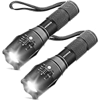[2 Packs] LED Torches, OUYOOOO High Lumens XML T6 Flashlights with Adjustable Focus and 5 Light Modes, Water Resistant…