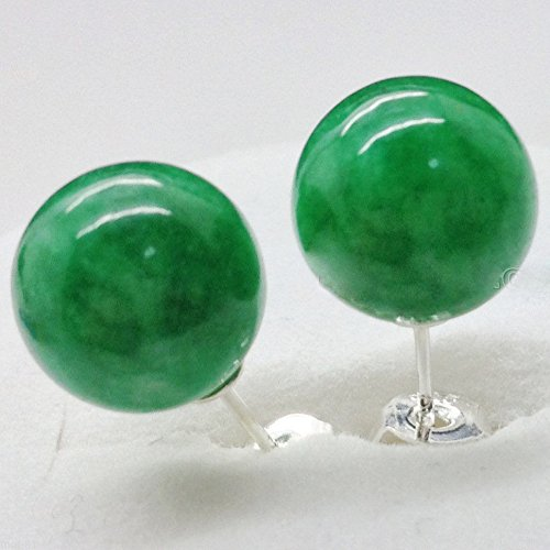 Meenanoom Genuine 10mm Natural Green Jadeite Jade 925 solid Silver Stud Earrings - Tiffany Genuine Jewellery