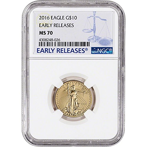 Gold Eagle Ms70 Early Release (2016 American Gold Eagle (1/4 oz) Early Releases Large Label $10 MS70 NGC)