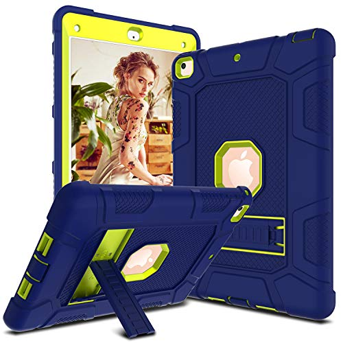 DONWELL Compatible for iPad 6th / 5th Generation Case 9.7 inch 2017/2018 Shockproof Defender Protective Cover with Kickstand for 9.7 inch A1893 A1823 A1822 (Type1- Navy Blue/Lemon Yellow)