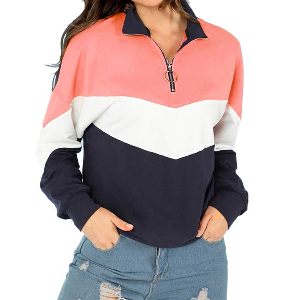 Women Sweatshirt Jumper Ulanda-EU Ladies Teen Girls Hoodies Pullover Casual Long Sleeve Colour Block Hoodie Sweaters Hoody Blouses Tops Autumn Winter Clothes for Women