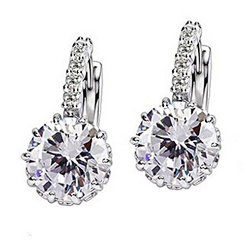 Ameesi Women's Jewelry Gift 9K Gold Plated Big Zircon Rhinestone Huggie Earrings