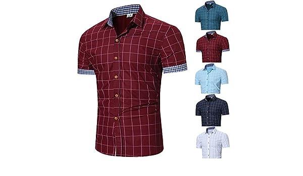 Camisas de Manga Corta para Hombres, Tops Pliad Hombre, Slim fit ...
