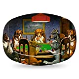 Dogs Playing Poker by C.M.Coolidge Plastic Platter - Microwave & Oven Safe Composite Polymer