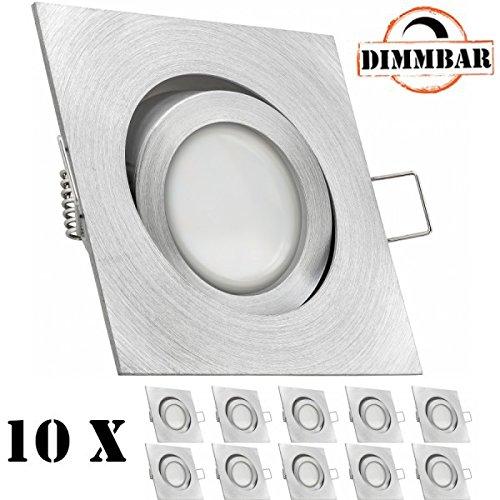 10er LED Einbaustrahler Set Aluminium natur mit LED GU10 Markenstrahler von LEDANDO - 5W DIMMBAR - warmweiss - 110° Abstrahlwinkel - schwenkbar - 35W Ersatz - A+ - LED Spot 5 Watt - Einbauleuchte LED eckig