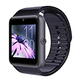 Mgaolo GT08 Bluetooth Smart Watch Smartwatch Bracelet with Camera SIM Card Slot and Camera Pedometer Smart Health Watch for Android and IOS Apple iphone Smartphone (Black)