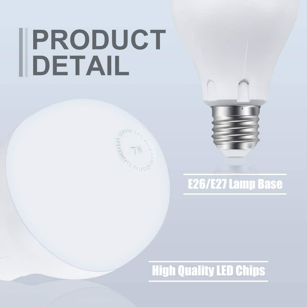 3-Pack Luxvista A70 E26 Motion Sensor Light Bulb Auto On//Off Photocell Sensor Security Bulbs for Indoor//Outdoor Lighting Lamp Garage Hallway Yard Porch Warm White 2700K