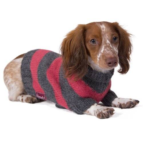 (Striped Dog Sweater: Salmon and Gray Hand-knit Sweater made from 100% Soft Alpaca (Extra Small))