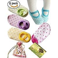 BS▒ 5 Pairs 8-36 Months Baby Girl Toddler Anti Slip Skid foot Socks + Gift ba...