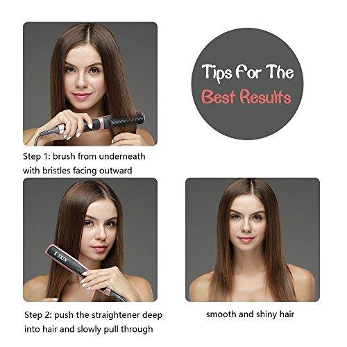 K-SKIN Tourmaline Ceramic Hair Straightener Straightening Brush Comb Anti-scald Faster Heating with 6 adjustable heat settings by K-Skin (Image #4)