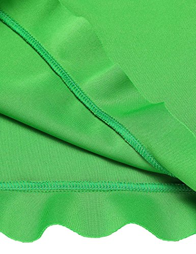 Casuale Verde Volant Rigonfiamenti Pizzo Donne Vestito Largo Bordo Solido Lunga O collo Manica wUUg7TqB