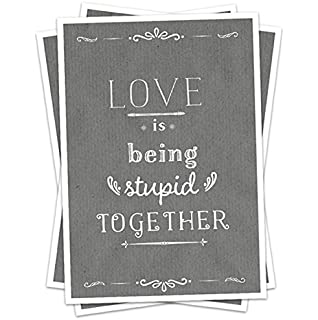 Hochzeitseinladung: Love Is Being Stupid Together, GRAU,  Hochzeitseinladungskarte Einladungskarten Recyclingpapier, AB 30