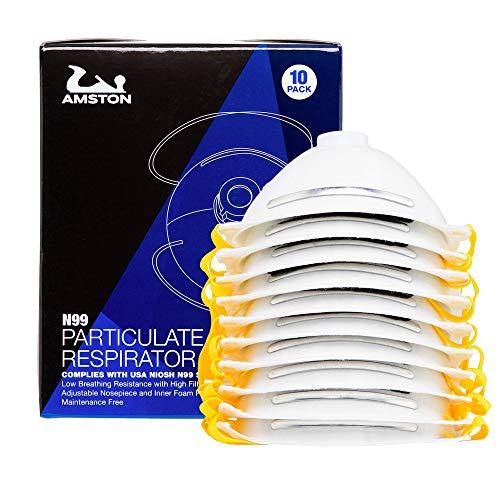 AMSTON N99 Disposable Dust Masks 10 pack - NIOSH-Certified - Safety Particulate Respirator w/Valve for Professional & Home Use (Lightweight, Soft, and Breathable) -
